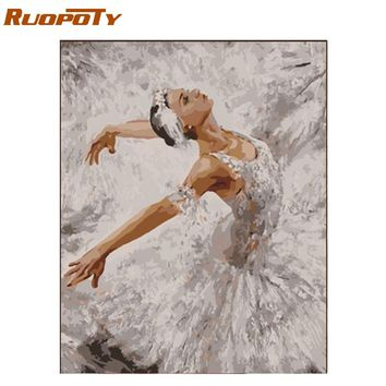 RUOPOTY Frame Ballet DIY Painting By Numbers Modern Wall Art Picture Figure Painting Acrylic Paint By Numbers Unique Gift 40x50