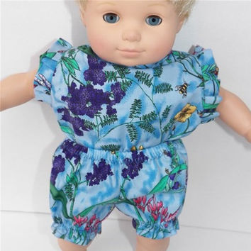 American Girl Bitty Baby Clothes 15 inch Doll Clothes Blue Floral Flower Outfit Panties & Blouse
