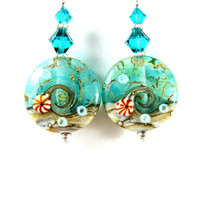 Ocean Earrings, Teal Earrings, Beach Earrings, Wave Earrings, Lampwork Earrings, Glass Earrings, Summer Earrings, Beach Jewelry - The Sea