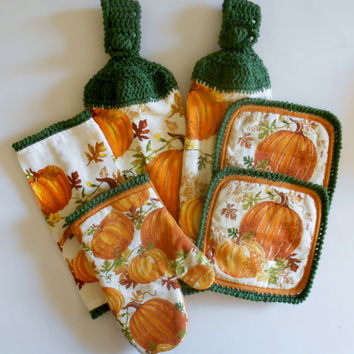 Pumpkin Kitchen Set, Crochet Hanging Towels, Pot Holders, Oven Mitt, Dish Cloth, Orange and Green Kitchen Decor, Autumn Kitchen Set