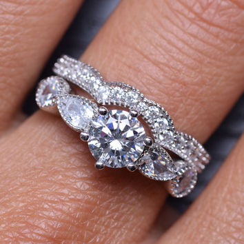2.17 Carats 2p Sterling Silver 6 Prongs Solitaire Bridal Engagement Wedding Ring Set