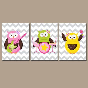 OWL Wall Art, Girl Owl Decor, Music Guitar Theme, Rock n Roll, Girl Bedroom, Canvas or Print, Whimsical Owl Chevron, Set of 3 Decor Pictures