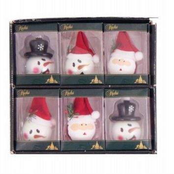 """Christmas By Krebs TV300052A Porcelain Figural Ornament w/3 Styles, White, 2.25"""""""