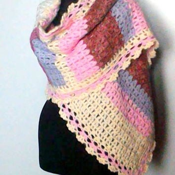 Crochet Shawl Chunky Shoulder Wrap Pink Lilac Ivory Colors Big Shawl Scarf Women Fall Winter Clothing Accessories Gift Ideas