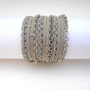 Grey Suede, Grey Cotton Cord Macrame and a Pea Nickel Chain - 3X Wrap Bracelet