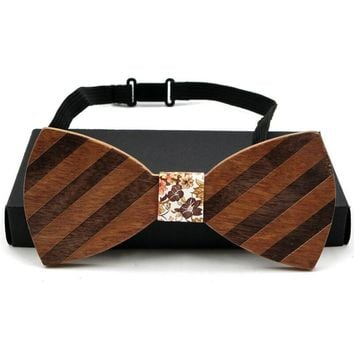 New Wooden bow tie Hand made Bow Retro Striped bow tie and box