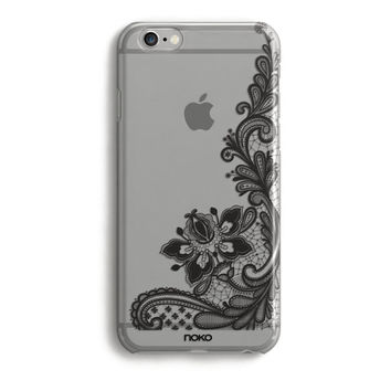 NOKO Black Lace Clear Transparent iPhone 6 Case, iPhone 6s case, iPhone 6 Plus Case, iPhone 6s plus case