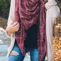 Lightweight Blanket Fringe Scarf - Washed Red Plaid