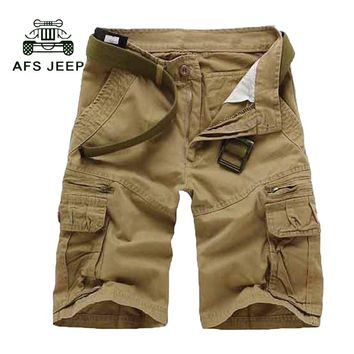 New Arrival 2016 Fashion Plaid Beach Shorts Mens Casual Camo Camouflage Shorts Military Short Pants Male Cargo Overalls 50