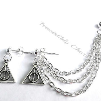 Silver 3 tier Deathly Hallows and lightning bolt cartilage earrings (pair)