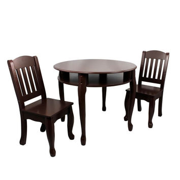 Teamson Kids - Windsor Round Table & Set of 2 Chairs - Espresso