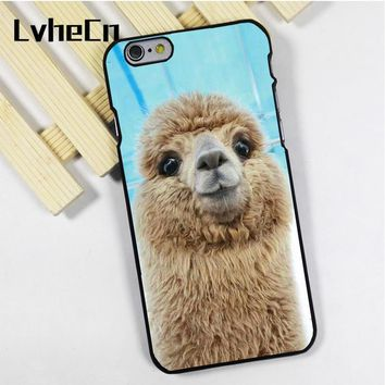 Alpaca Face Cute Phone case cover fit for iPhone 4 4s 5 5s 5c SE 6 6s 7 8 plus X ipod touch 4 5 6 back skins
