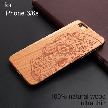 Cherry Wood Carving Hard Back Wooden Phone Case For Iphone 5 5S 6 6s 6plus 6s plus 7 7plus