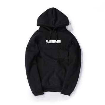Supreme autumn and winter tide brand men and women lovers new Phantom sweater coat jacket plus flannel Black