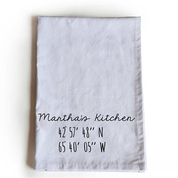 Personalized Tea Towel, Customized Handmade Cotton Kitchen Tea Towel Gift For Her, Gift For Granny, Home Coordinates Tea Towel, Housewarming