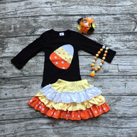 girls clothing halloween boutique outfits baby girls candy corn top with skirts girls Halloween party clothes with accessories