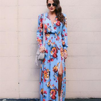Spring/Summer Collection/Girls/Baby  2018 Spring Floral Print Women Maxi Dress w/ Deep V Neck Long Sleeve Elastic Empire Waist High Slit Bohemian Dresses