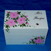 Personalized Recipe Box Custom Hand Painted Heirloom Wedding Recipe Card Box Decorative Wood Box