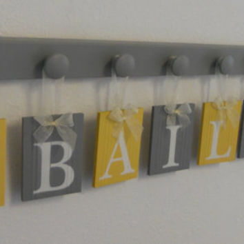 Owl Nursery Decor Art, Hanging Name Blocks Custom BAILEY with Owls with 8 Grey Knobs, Yellow Gray Owl Personalized Baby Nursery Wall Decor