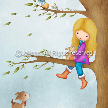 Girls Art, childrens art, kids room decor, girl on a tree, bunny, deer, nursery poster, wall decor for kids room