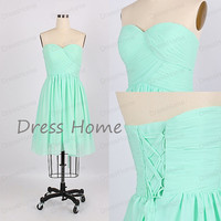 Mint Green Sweetheart Short Chiffon Bridesmaid Dress/Knee Length Corset Wedding Party Dress/Lace Up Graduation Dress DH189