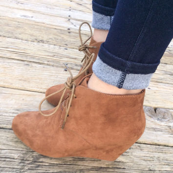 Camel Wedge Booties