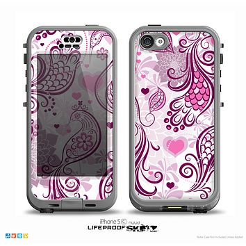 The White and Pink Birds with Floral Pattern on WHite Skin for the iPhone 5c nüüd LifeProof Case