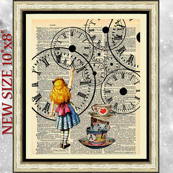 Art print on antique Dictionary book page Alice in Wonderland. Art dictionary print Alice and cup of tea. Wall art on upcycled media.