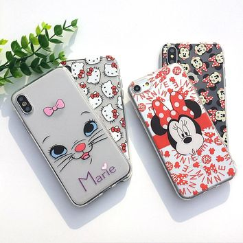 Soft TPU Phone Case For Apple iPhone X Case For iPhoneX Case 7 8 Plus Cover Transparent Capa Funy Donald Duck Hello Kitty