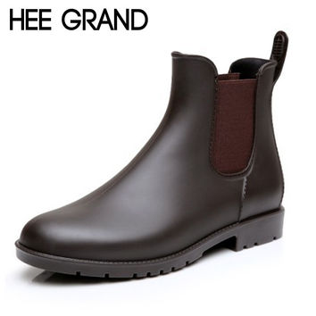 HEE GRAND Sexy Rain Boots 2017 Women Ankle Boots Casual Platform Shoes Woman Slip On Creepers Casual Flats Size 35-43 XWX4080