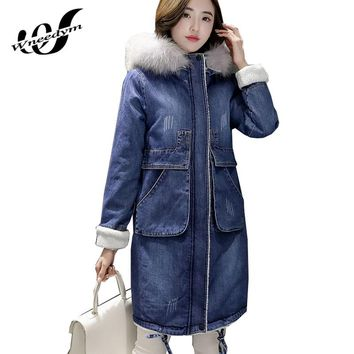 WNEEDYM 2017 Long Denim Winter Jacket Women Hooded Faux Fur Coat Thicken Cashmere Lining Warm Parka Plus Size Outerwear LWY56