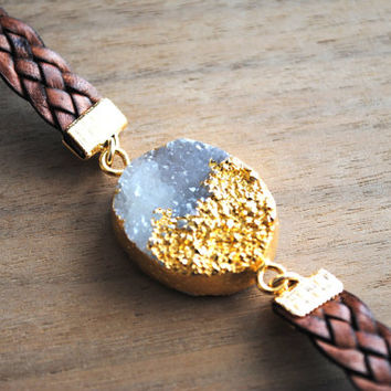 Druzy Bracelet, Leather Bracelet, Leather Druzy Bracelet, Natural Leather, Natural Druzy, Statement Bracelet
