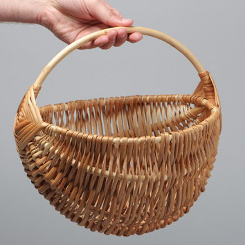 Small beautiful handmade Easter basket woven of willow withe of light color