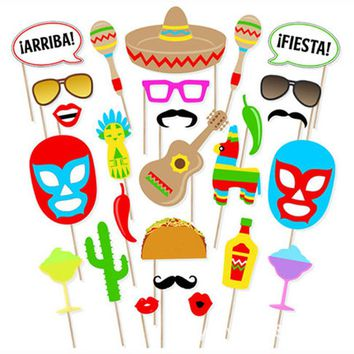 Cinco De Mayo Party Papercard Cartoon Photo Booth Props Kit on A Stick Mexico Carnival Party Mask Photo Shoot Props 26pcs/set