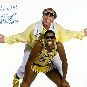 Magic Johnson Signed Autographed Glossy 16x20 Photo w/ Jack Nicholson (ASI COA)