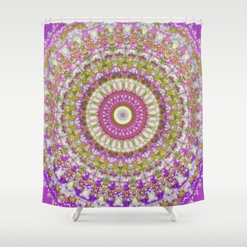 pretty hippy pink mandala shower curtain by vicki field