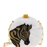 Oscar Round Zebra Clutch Bag, White