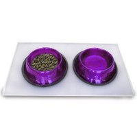 Platinum Pets 4 Cup Embossed Non-Tip Stainless Steel Dog Bowls with Clear Feeding Mat, Electric Purple