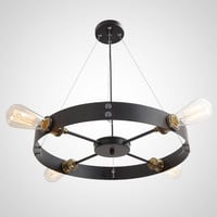 Black Round Vintage Barn Metal Hanging Ceiling Pendant Light with 4 Lights