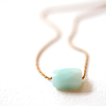 Simple Tiny Blue Gemstone Necklace