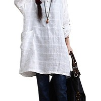 Women's Linen T-Shirt Blouse Tops Long Sleeve Loose Fit One Size White