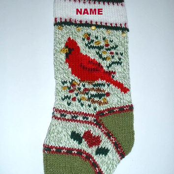 Christmas stocking  PERSONALIZED   Cardinal bird motif   RUSTIC style  Holiday decor  Christmas decoration Hand knit  Ready to ship