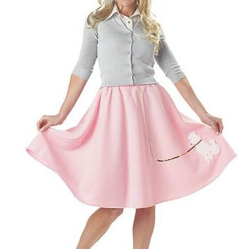 Adult Poodle Skirt (Small,Pink)