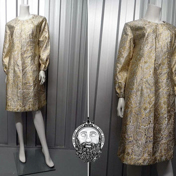 Vintage 60s Gold and Silver Brocade Shift Dress Metallic Dress Paisley 1960s Mod Dress Bishop Sleeve Cocktail Dress Jacquard Fabric Lurex