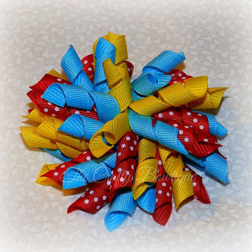 Colorful Korker Bows ~ Polka Dot Korker Bows ~ Yellow, Red & Blue Bows ~ Circus Hair Bows ~ Cheer Bows ~ Matching Girls Bows ~ Pigtail Bows