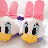 Disney Daisy Donald Duck Birthday Christmas Home Party Adult Lady Warm Slippers