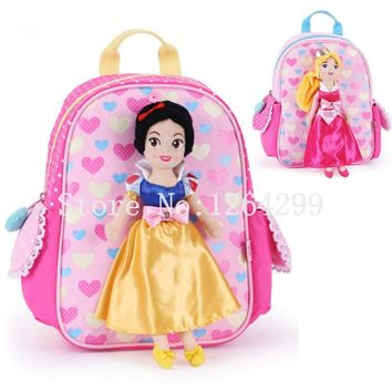 New Cute Snow White Sleeping Beauty Princess Girls Polyster Kindergarten School Bags Kids Backpack With Plush Doll For Children