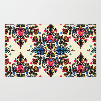 Bright Folk Art Pattern - hot pink, orange, blue & green Area & Throw Rug by micklyn | Society6