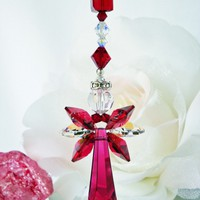 Guardian Angel Car Charm Red Crystal Rear View Mirror Accessories