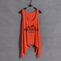 Hermes  Women Tank Top  Orange  Sides Drop by zzzAfternoon on Etsy